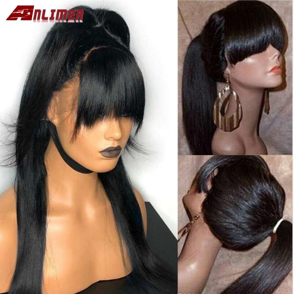 Full Lace Human Hair Wigs With Bangs For Black Women  150% Brazilian Remy Human Hair Straight Glueless Full Lace Wig With Bang