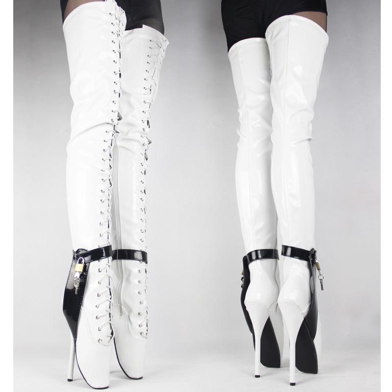 Фетиш-корсет, доминатрикс/бедра/ботфорты, сексуальные балетные сапоги на высоком каблуке 18 см с замком