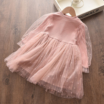 Girls Dress Long Sleeves lace Mesh Kids Dresses Autumn Casual Style Pink Long Sleeve Princess Dress Girls Clothes