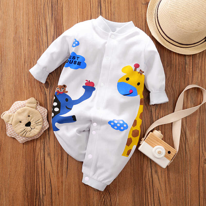 PatPat 2020 New 0-1 Years Old Baby Boy and  Girl Lovely Giraffe Print Jumpsuit One Pieces