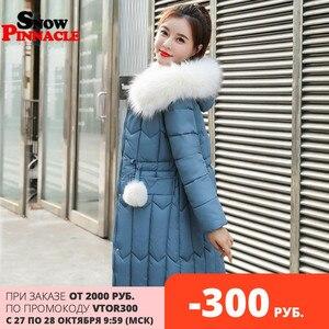 Image 1 -  25 stopni zima kobiety długie kurtki parki Plus rozmiar M 5XL gruby ciepły duża, futrzana kołnierz kobiet Slim sintepon parki znosić płaszcz