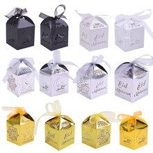 20 sztuk Happy Eid Mubarak Candy Box dekoracja na Ramadan DIY pudełka na prezenty papierowe islamski muzułmanin al fitr Eid Party pakowanie prezentów dostaw