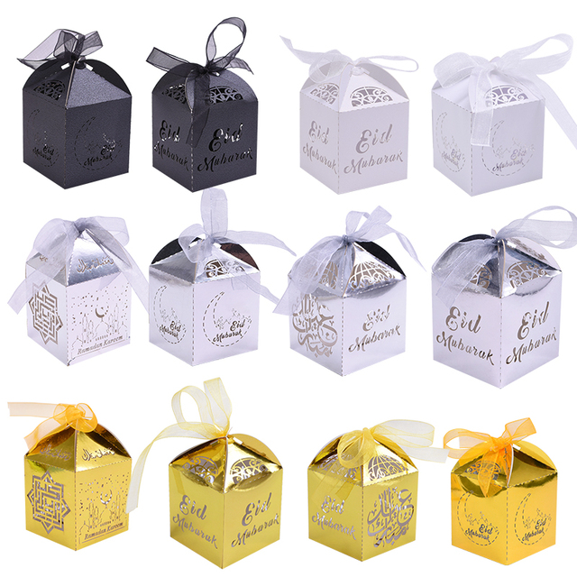 20pcs Happy Eid Mubarak Candy Box Ramadan Decoration DIY Paper Gift Boxes Islamic Muslim al Fitr Eid Party Gift Packing Supplies