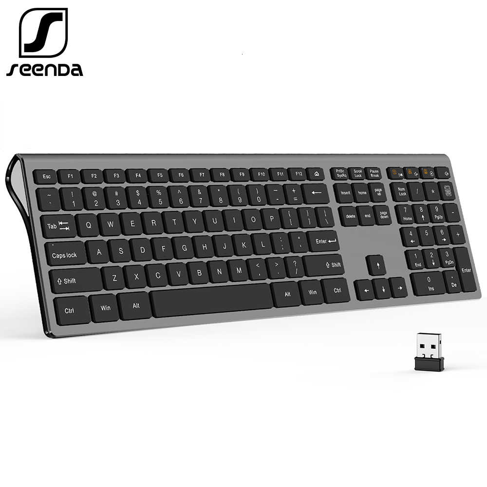 Seenda Dunne 2.4G Wireless Keyboard Voor Laptop Desktop Schaar Schakelaar Toetsenbord Voor Windows Mac Os Full Size 109 Toetsen toetsenbord