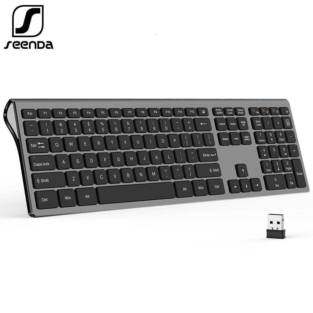 Seenda fino 2.4g teclado sem fio para computador portátil desktop tesoura interruptor teclado para windows mac os tamanho completo 109 teclas teclado
