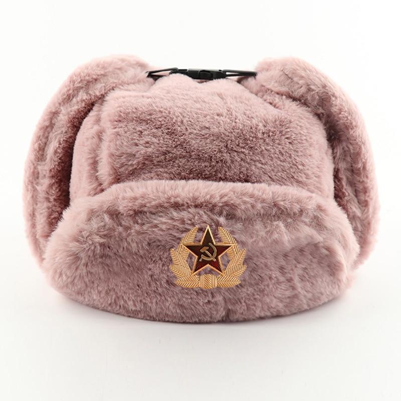 Купить модная зимняя теплая шапка 2020 советская с значком ветрозащитная
