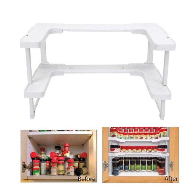 2 Layers Kitchen Cabinet Cupboard Organizer Adjustable Kitchen Storage Shelf Spice Rack Countertop Organizer Cabinet Storage