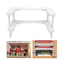 Armario de cocina de 2 capas, organizador de armarios, estante de almacenamiento de cocina ajustable, estante de especias, mostrador organizador, gabinete de almacenamiento