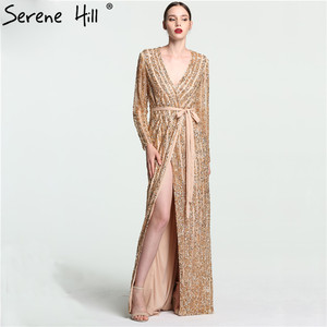 Image 4 - Serene Hill Fashion V Neck Sleeping Style Green Evening Dress 2020 Beading Diamond Long Sleeves Formal Party Gown CLA6004