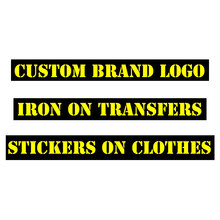 Custom LOGO Brand Patches Heat Transfer Vinyl Sticker Iron On Transfers For Clothes Stripe ironing stickers Applique DIY