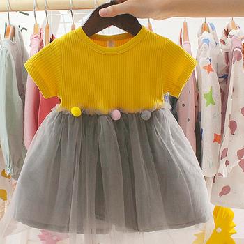 Letnie dziewczyny słodkie sukienki krótki rękaw puszysty taniec baletowy moda balowa dorywczo krótki rękaw potargane dziecko sukienka tanie i dobre opinie W wieku 0-6m Stałe CN (pochodzenie) Kobiet REGULAR Na co dzień Ruffles Pasuje prawda na wymiar weź swój normalny rozmiar
