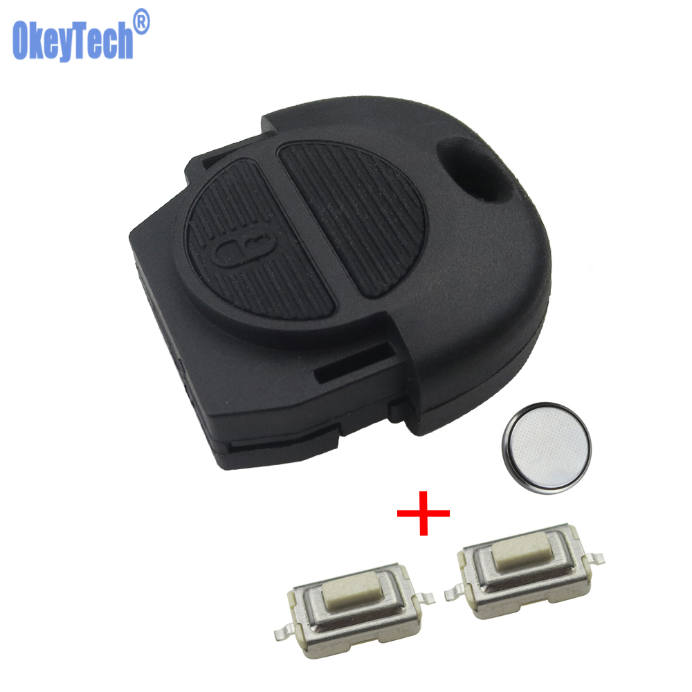 OkeyTech Replacement Remote Key Cover Case FOB 2 Buttons With 2PCS Switches & Battery For Nissan Micra Almera Primera X-Trail