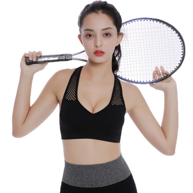 2019 Sports Bra Ladies Hollow Shoulder Strap Beauty Back Padded Yoga Fitness Running Sports No Steel Bra new
