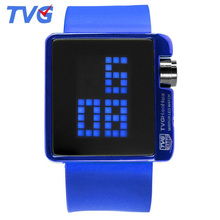 TVG Watches Men Led Digital Watches Silicone Strap Electronic Watches Men Sports Watches reloj hombre relogio masculino cheap 24 3cm Stainless Steel Buckle 3Bar Fashion Casual 41mm 10mm Hardlex Shock Resistant LED display Auto Date Water Resistant