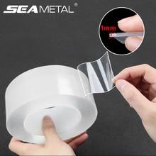 Двухсторонние клейкие ленты из силикагеля, 1 мм, суперпрозрачная Двухсторонняя клейкая лента без следов для кухни, дома, автомобиля, многократное использование