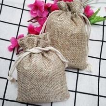 Hot 100pcs Jute Gift Bags 7x9 9x12 10x14cm Natural Burlap Hessia Jewelry  Pouch Jute Gift Bags Jewelry Packaging Wedding Bags