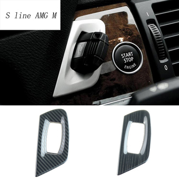 Car Styling carbon Fiber Keyhole decorative ring Ignition Key Lock Panel Covers Trim Stickers For BMW X5 X6 E70 E71 Accessories image