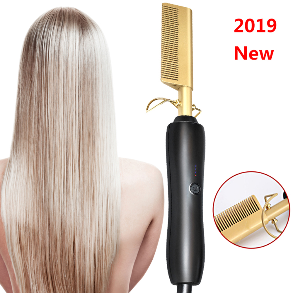 Hot Comb Wet And Dry Hair Use Hair Curling Iron Straightener Comb Electric Environmentally Friendly Titanium Alloy Hair Straight