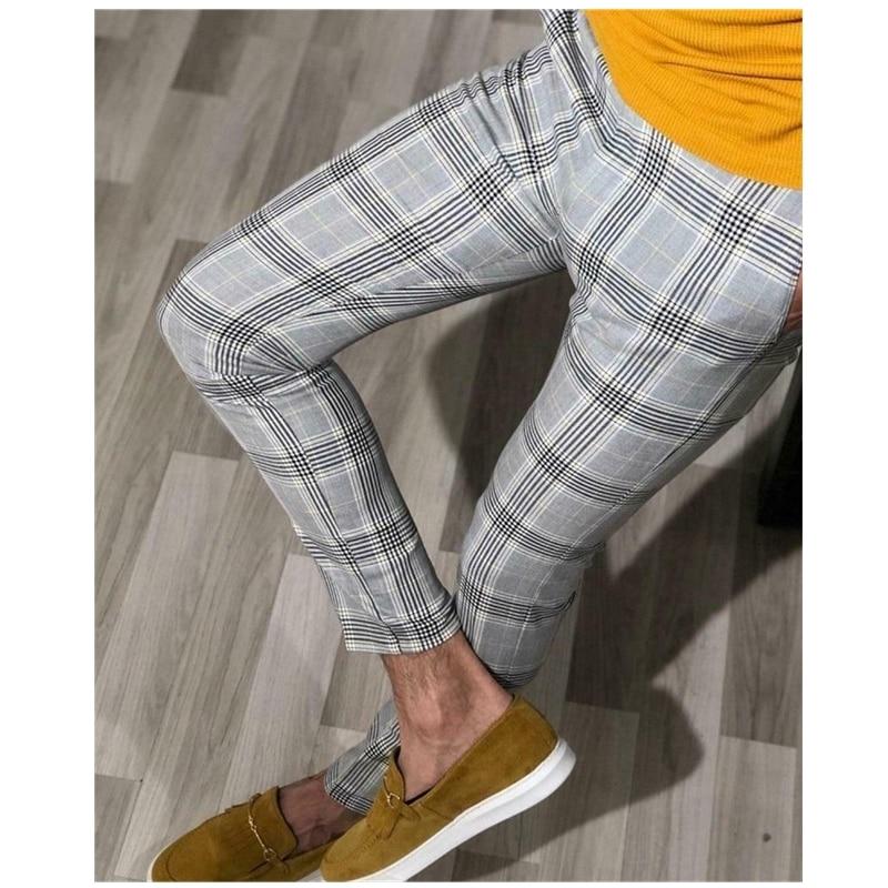 2019 Fashion Trend Men Smart Casual Slim Fit Skinny Business Formal Party Pants Slacks Summer Plaid Long Trousers Bottoms Skinny Pants Aliexpress