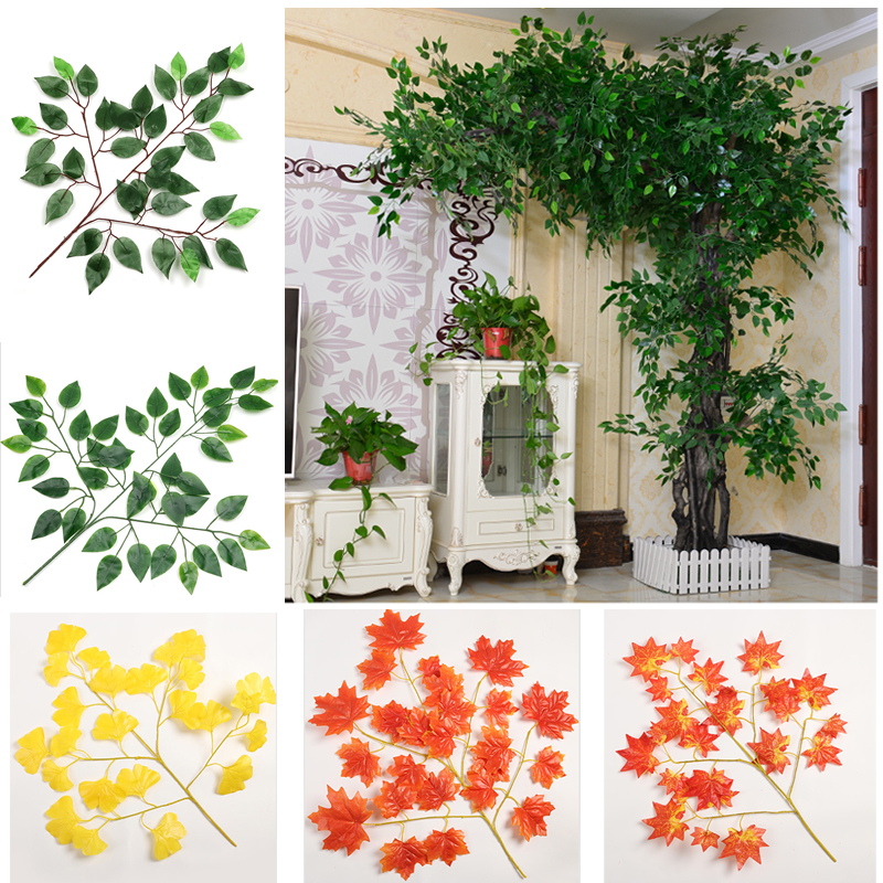 12Pcs Artificial Eucalyptus Leaves True Size Low Price Sale Plastic Garden Home Shopping Mall Decoration Faux Plants  Greenery