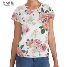 Women Short Sleeve T-shirts Loose Harajuku Flower Plus Size 4XL 3D Printed Chic Simply All-match Women's Tshirts 2021 New