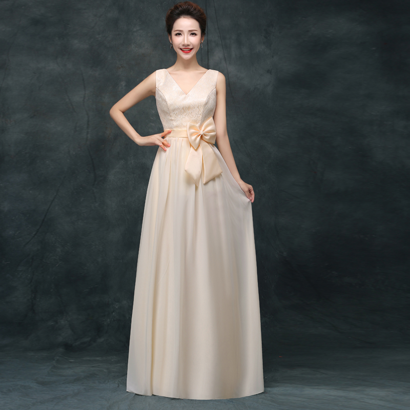Plus Size Junior Bridesmaid Dress For Wedding Party V-neck  Sexy Floor Length Long Prom Dress Champagne Simple New Years Eve