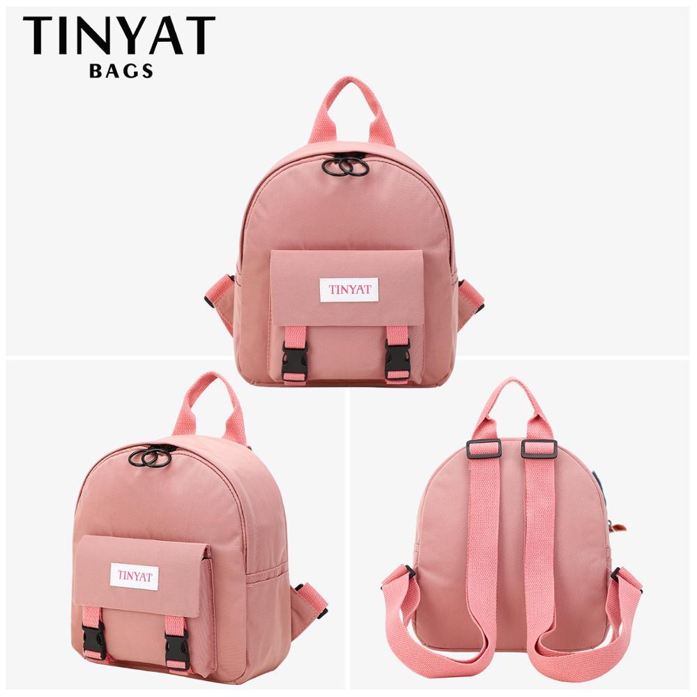 TINYAT Mini Backpack Women Canvas Shoulder Bag For Teenage Girls Kids Multi-Function Small Bagpack Female Ladies School Backpack