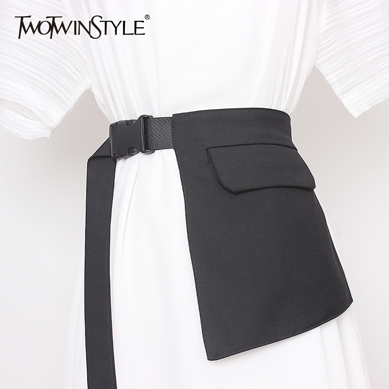TWOTWINSTYLE Elegant Asymmetrical Women Girdle Irregular Patchwork Pockets Girdles For Female Fashion 2020 Summer Accessories