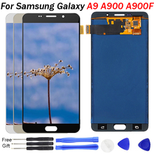 цена на For Samsung Galaxy A9 A900 A9000 LCD Display Touch Screen Digitizer Assembly Black White Gold LCD Replacement A900F LCD Display