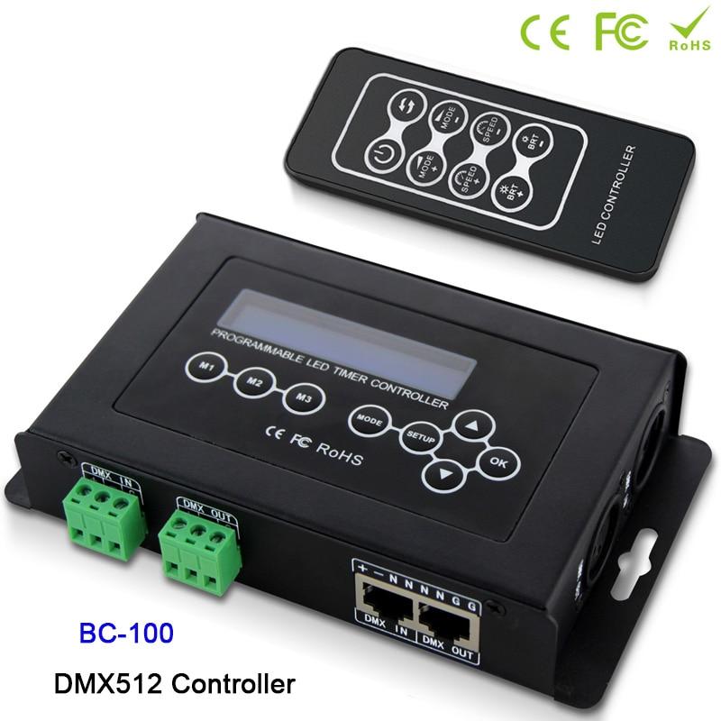 BC 100 led RGB контроллер DMX512 сигнал 170 пикселей светильник контроллер ЖК дисплей и RF беспроводной пульт дистанционного управления диммер DC9V