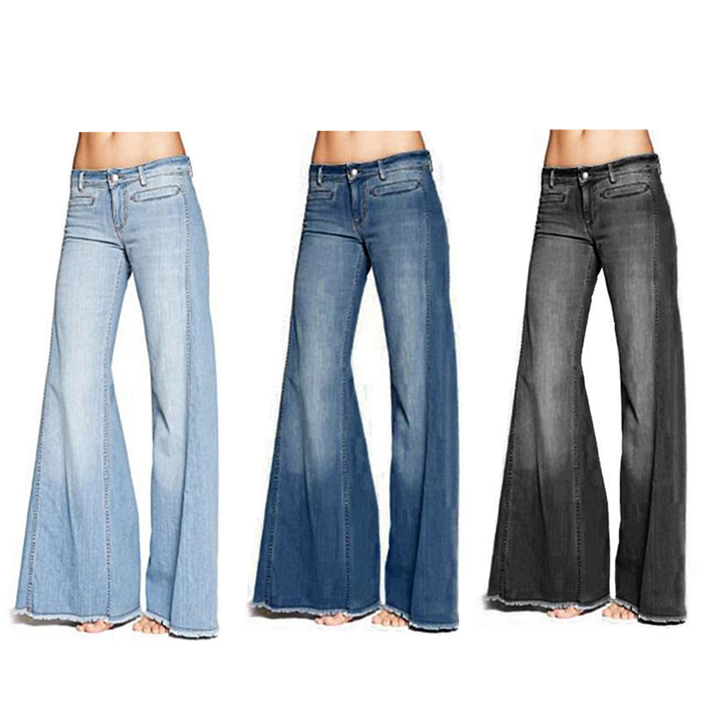 2019 Fashion Denim Flare Pants Women Retro Jeans Wide Leg Trousers Lady Casual Bell-Bottoms Flare Pant Female XS-4XL