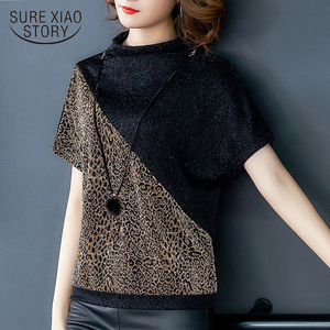 Korean fashion clothing 2020 ladies tops Leopard office O-Neck short sleeve shirt women tops blusas shirts plus size women 8498(China)