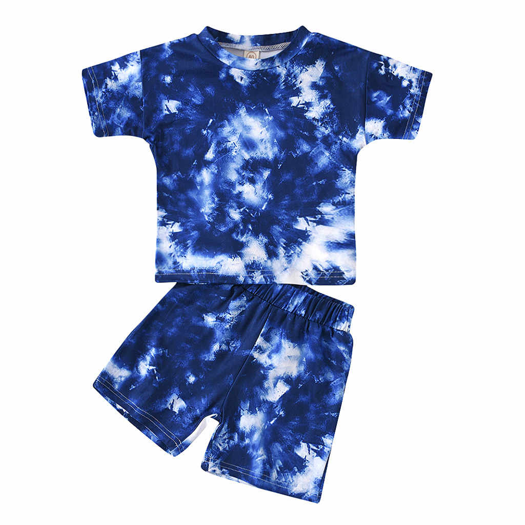 Baby Toddler Boy Girl Tie Dye Outfits Short Sleeve T-Shirt Top+Short Pants 2Pcs Unisex Summer Clothes