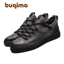 Buqima 2019 New Popular Mens Running Shoes Flat-soled Leisure Sports Comfortable Genuine Leather