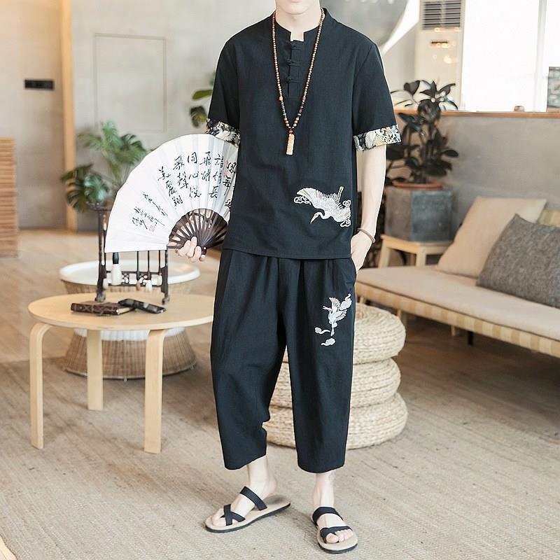 NiceMix japonais hommes chemise & pantalon style chinois costume été ample plaque boucle deux pièces ensemble vintage nouveau été ropa de hombre