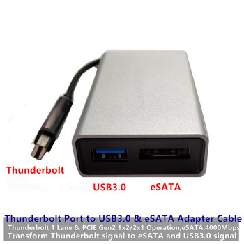 Hard Disk Drive Converter Thunderbolt Port to USB3.0+eSATA Adapter Cable TBT10Gbp PCIE2.0 for Apple Laptop PC iMac Free Shipping