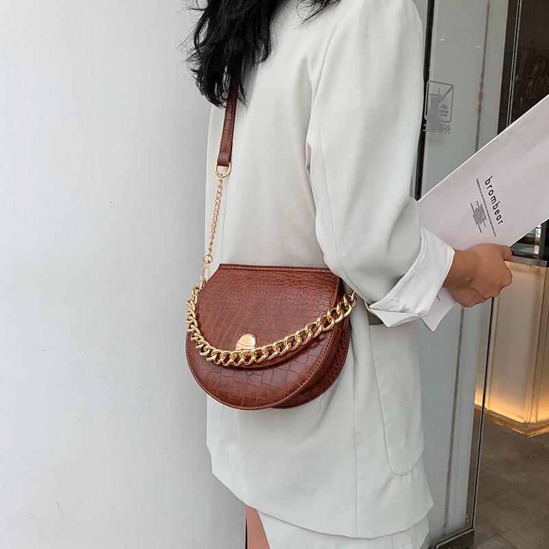 Fashion Chain Alligator Messenger Bags Retro Crocodile Pattern Saddle Bag Women Shoulder Bags Casual Pu Leather Women's Handbag