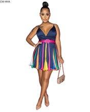 CM.YAYA Frauen Sommer Sexy Club Party Ärmelloses Spaghetti Bügel Tiefe V-ausschnitt Patchwork Mini Kleid Fit & Flare Kleider