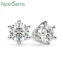 NiceGems الصلبة 14K الذهب الأبيض 6 الشق تاج مجموعة D اللون 4ct جولة مويسانيتي الماس قرط الاذن المرصع للسيدات دفع الظهر نحن