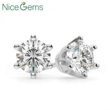 NiceGems 14K สีขาวทอง 6 PRONG Crown ชุด D สี 4CT รอบ Moissanite Diamond Stud ต่างหูสำหรับสุภาพสตรี PUSH Back เรา