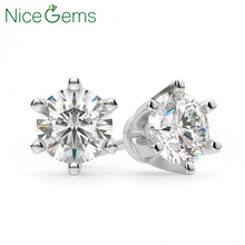 NiceGems Solid 14K White Gold 6 Prong Crown Set D Color 4ct Round Moissanite Diamond Stud Earring For Ladies  Push Back We