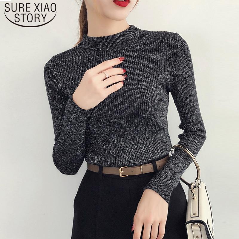 2019 Autumn Winter Long Sleeve Sweater Women Shiny Pullover Women Basic Sweater Femme Turtleneck Korean Style Knit Tops 5042 60