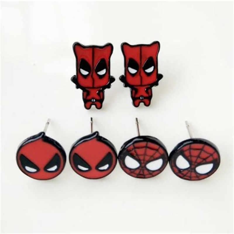 ผู้หญิงสตั๊ดต่างหู MARVEL Marvel Spider-Man กัปตันอเมริกา Dead เล็บหูต่างหูคอสเพลย์เครื่องแต่งกายอุปกรณ์เสริม