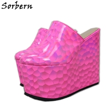 Sorbern Peach Honeycomb Pump Shoes Women Mules Wedges High Heel Platform Pointy Toes Slip On Comfortable Lady Shoes Multi Colors cresfimix femmes hauts talons women fashion comfortable slip on pu leather high heel shoes lady cute sweet office shoes b2915