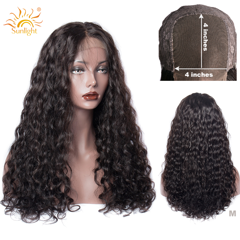 150 Density 4x4 Closure Wig Peruvian Water Wave Wig Glueless 4x4 Wigs For Black Women Sunlight Remy Pre Plucked Lace Wigs