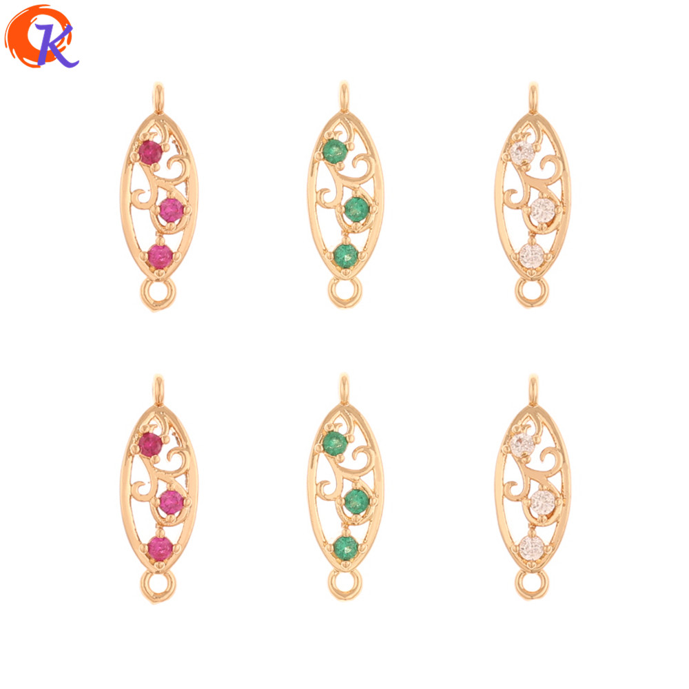Cordial Design 100Pcs 6*18MM Jewelry Accessories/Earrings Connectors/DIY Making/Oval Shape/Hand Made/Earring Findings/CZ Charms