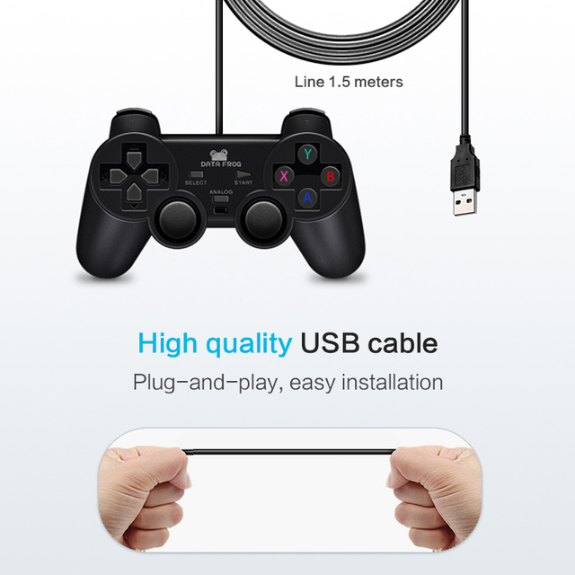 Vibration Joystick Wired USB PC Controller For PC Computer Laptop  For WinXP/Win7/Win8/Win10 For Vista Black Gamepad 3