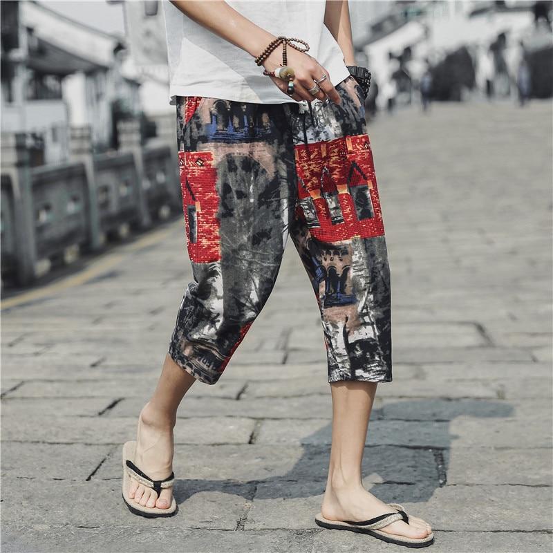 2019 New Style Summer Capri Pants Men Chinese-style Flax Cotton Linen Shorts Men's Casual Harem Pants
