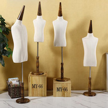 1-2 years baby half torso Child realistic Mannequins display with Circular wood base fabric flexible dress cloth,one piece D143