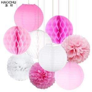 Image 2 - 9pcs/lot Paper Flower Pom Poms/Honeycomb Balls/Paper Lantern Hanging Decoration Wedding Baby Shower Birthday Party Engagement